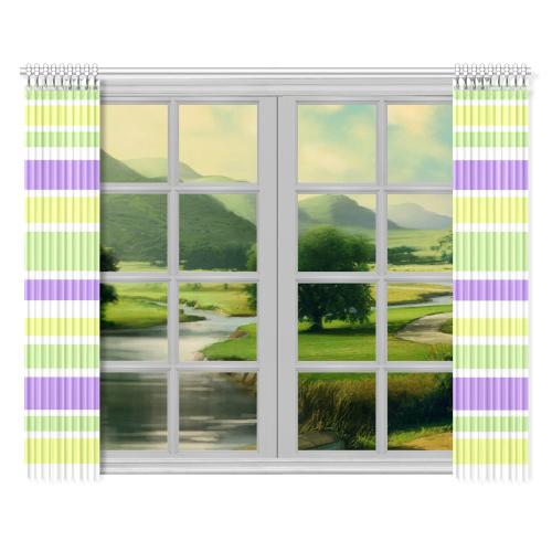 "Yellow Green Purple Stripes Pattern Window Curtain 52""x84""(Two Pieces)"