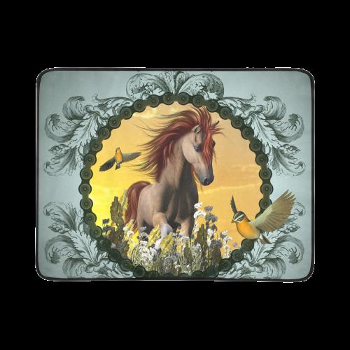 """Beautiful horse with birds Beach Mat 78""""x 60"""""""
