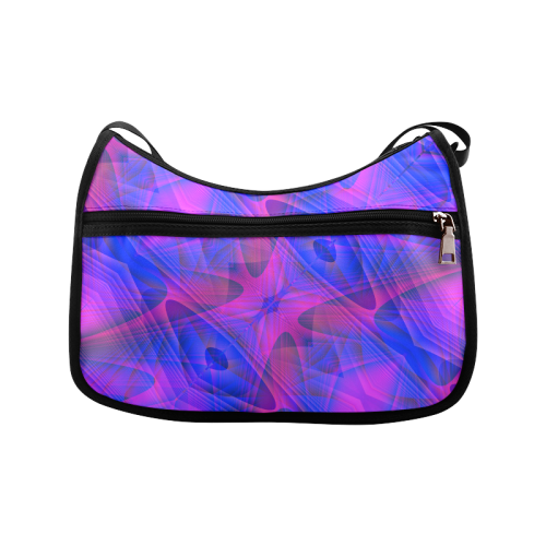 Modern Abstract Purple and Blue on Black Crossbody Bags (Model 1616)