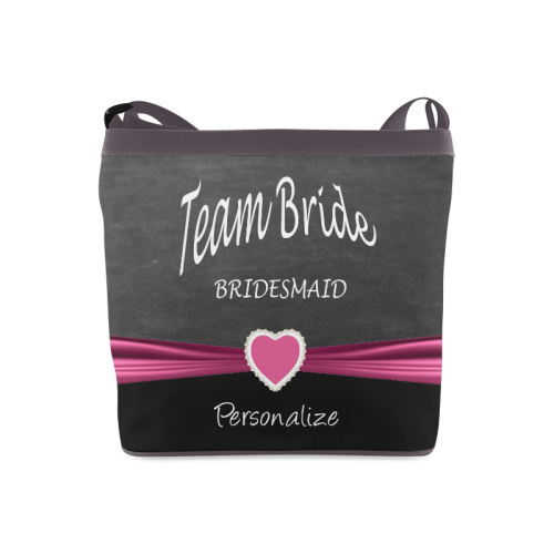 Team Bride in Black and Pink Crossbody Bags (Model 1613)