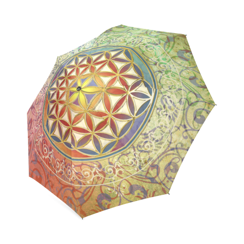 FLOWER OF LIFE vintage ornaments green red Foldable Umbrella