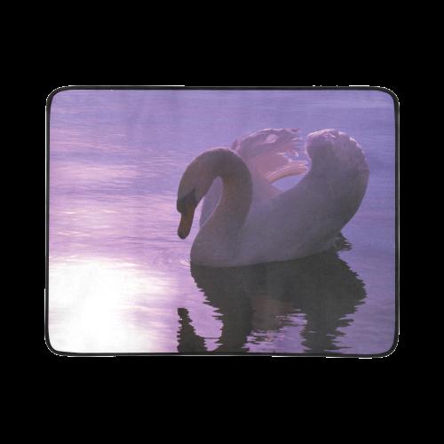 """Swan20160301 Beach Mat 78""""x 60"""""""