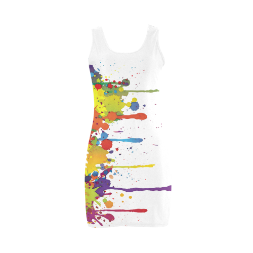 Crazy multicolored running SPLASHES Medea Vest Dress (Model D06)