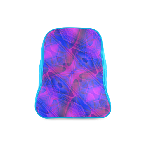 Blue and Purple Abstract Fractal School Backpack/Large (Model 1601)