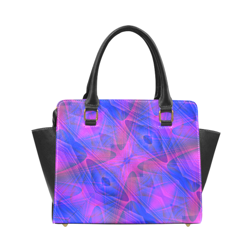 Blue and Purple Abstract Pattern Rivet Shoulder Handbag (Model 1645)