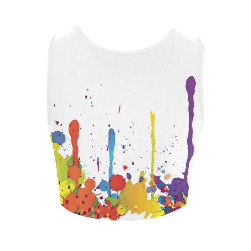 Crazy multicolored running SPLASHES Women's Crop Top (Model T42)
