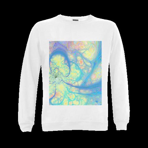 Blue Angel, Abstract Cosmic Azure Lemon Gildan Crewneck Sweatshirt(NEW) (Model H01)