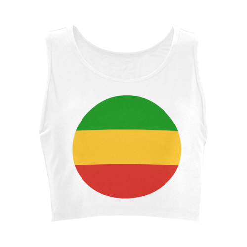 Rastafari Flag Colored Stripes Women's Crop Top (Model T42)