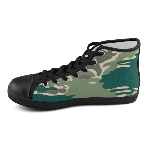 woodland camo green s high top canvas shoes model 002
