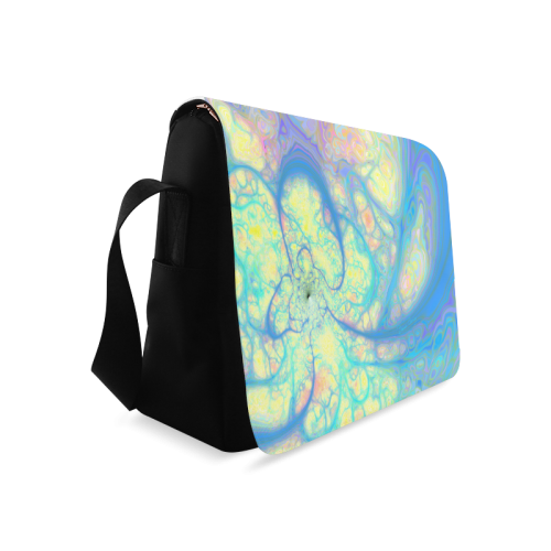 Blue Angel, Abstract Cosmic Azure Lemon Messenger Bag (Model 1628)