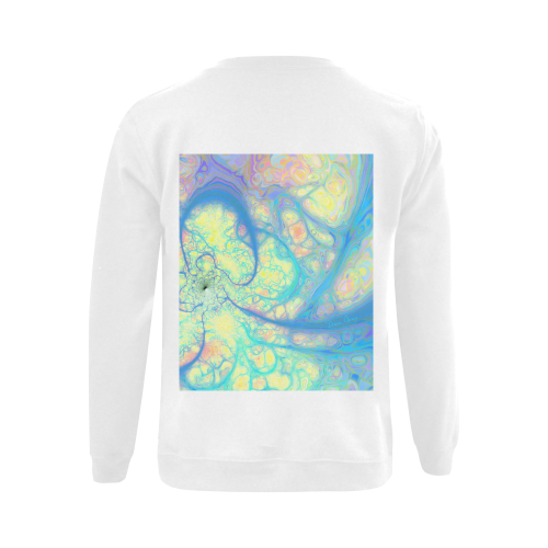 Blue Angel, Abstract Cosmic Azure Lemon Gildan Crewneck Sweatshirt(NEW) (Model H01)