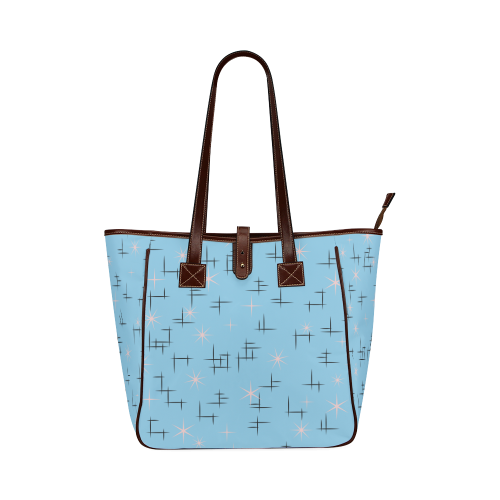 Abstract Lines and Pink Stars on Baby Blue Retro Classic Tote Bag (Model 1644)