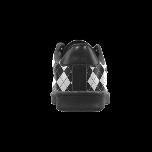 Black and White Argyle Scorpius Low Top Men's Sneakers (Model 023)