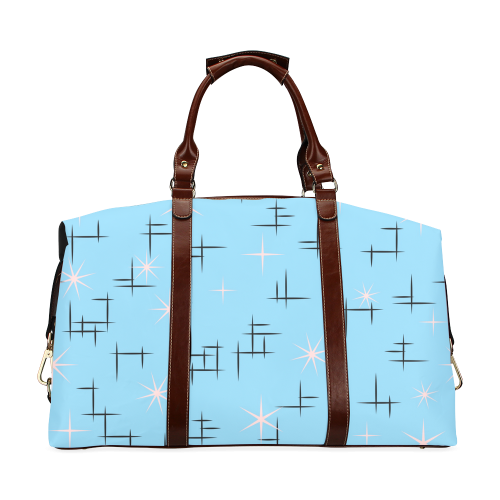 Abstract Lines and Pink Stars on Baby Blue Retro Classic Travel Bag (Model 1643)