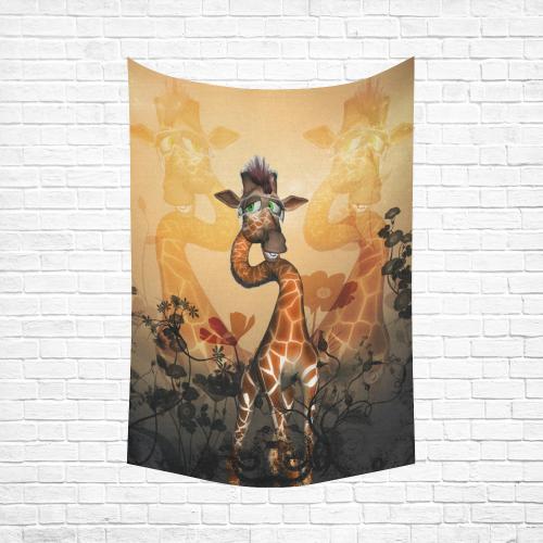 "Funny, sweet giraffe Cotton Linen Wall Tapestry 60""x 90"""
