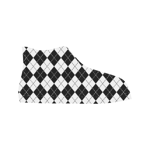 Black and White Argyle Aquila High Top Action Leather Men's Shoes (Model 027)