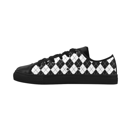 Black and White Argyle Aquila Microfiber Leather Men's Shoes (Model 028)