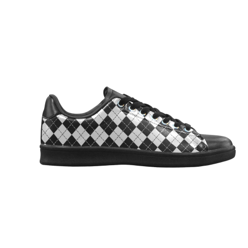 Black and White Argyle Scorpius low top Sneakers (Model 023)