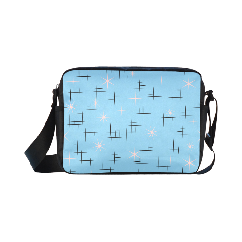 Abstract Lines and Pink Stars Baby Blue Retro Classic Cross-body Nylon Bags (Model 1632)