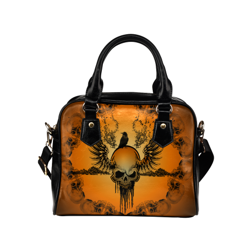 Amazing skull with crow Shoulder Handbag (Model 1634)