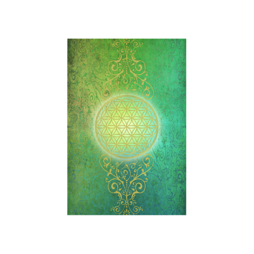 "Symbol FLOWER OF LIFE vintage gold green Cotton Linen Wall Tapestry 40""x 60"""