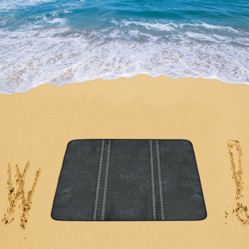 "Black  Crackling With Stitching Beach Mat 78""x 60"""