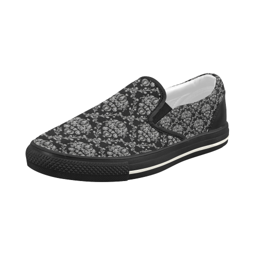 Black and Silver Damask Women's Slip-on Canvas Shoes (Model 019)