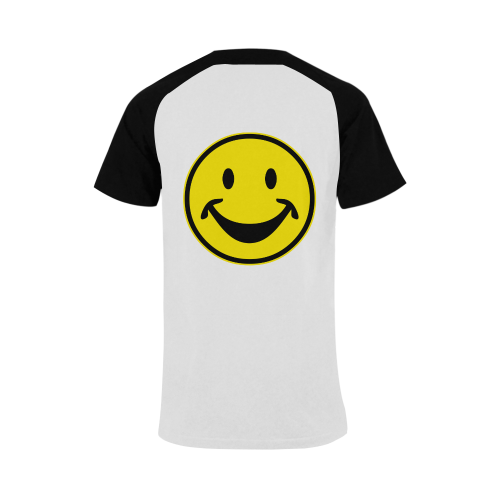 Funny yellow SMILEY for happy people Men's Raglan T-shirt Big Size (USA Size) (Model T11)