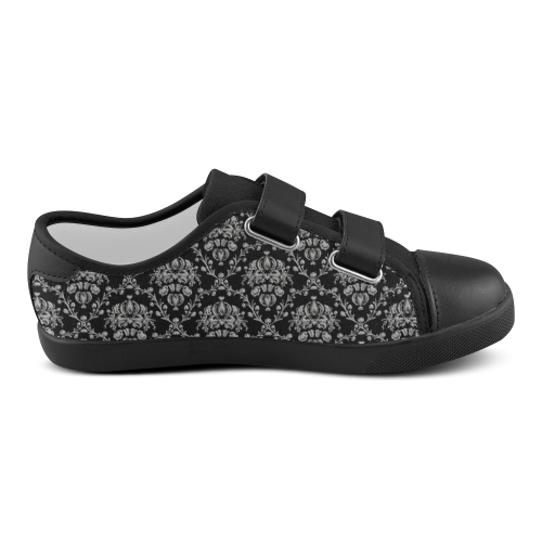 Elegant Black and Silver Damask Velcro Canvas Kid's Shoes (Model 008)