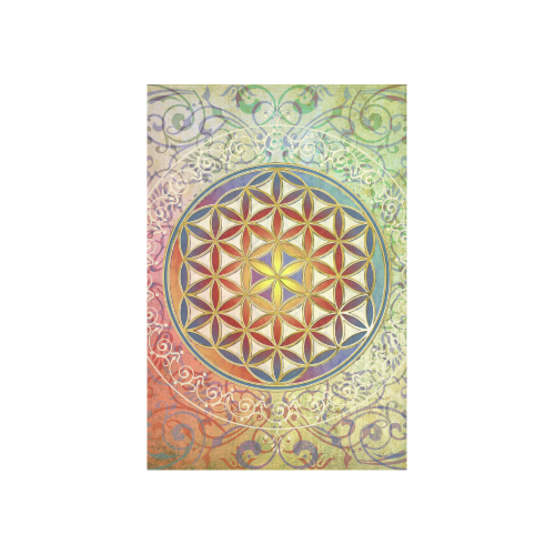 "FLOWER OF LIFE vintage ornaments green red Cotton Linen Wall Tapestry 40""x 60"""
