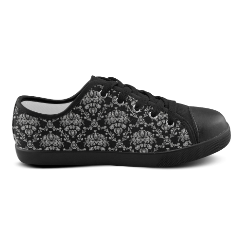 Black and Silver Damask Canvas Kid's Shoes (Model 016)