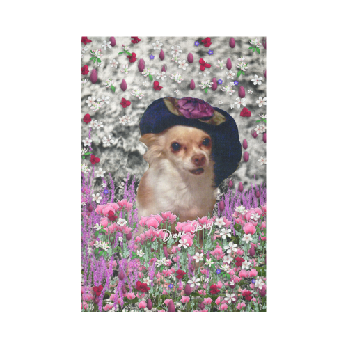 "Chi Chi in Pink White Flowers, Chihuahua Puppy Dog Cotton Linen Wall Tapestry 60""x 90"""