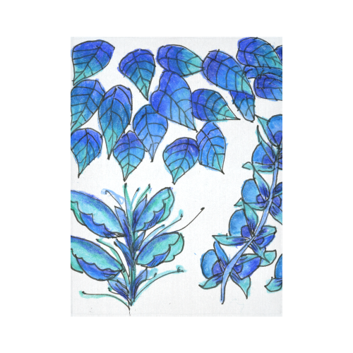 "Pretty Blue Flowers, Aqua Garden Zendoodle Cotton Linen Wall Tapestry 60""x 80"""