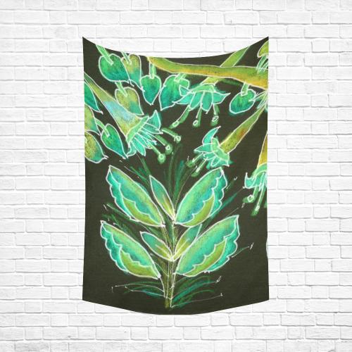 "Irish Garden, Lime Green Flowers Dance in Joy Cotton Linen Wall Tapestry 60""x 90"""