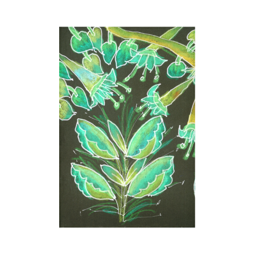 "Irish Garden, Lime Green Flowers Dance in Joy Cotton Linen Wall Tapestry 60""x 90"""