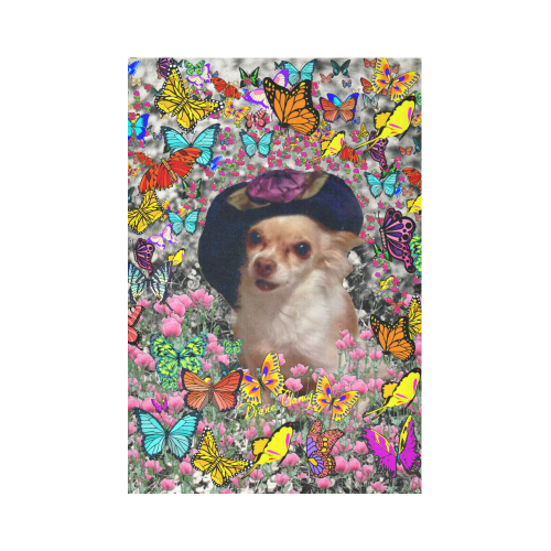 "Chi Chi in Yellow Butterflies, Chihuahua Puppy Dog Cotton Linen Wall Tapestry 60""x 90"""