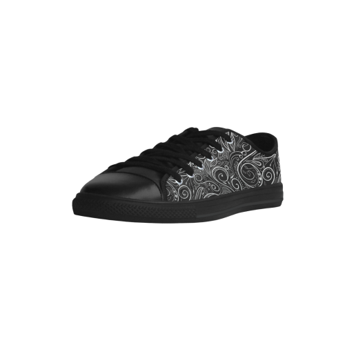 A elegant floral damasks in  silver and black Aquila Microfiber Leather Women's Shoes (Model 028)