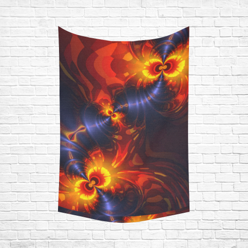 "Butterfly Eyes, Abstract Violet Gold Wings Cotton Linen Wall Tapestry 60""x 90"""