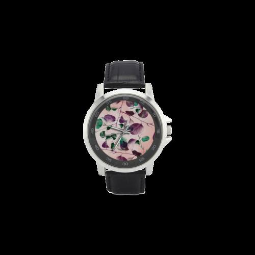 Eucalyptus Unisex Stainless Steel Leather Strap Watch(Model 202)