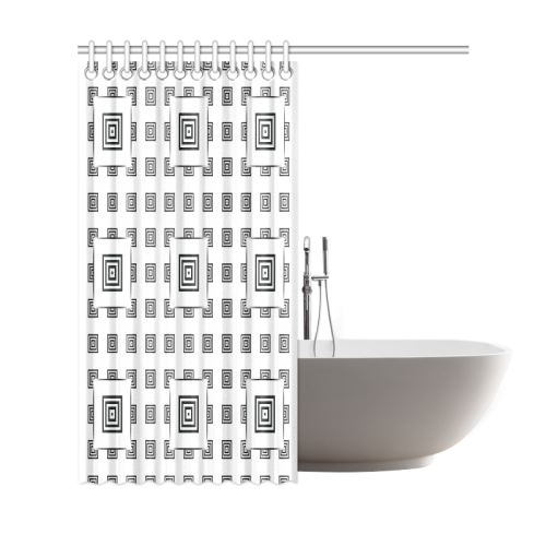 """Solid Squares Frame Mosaic Black & White Shower Curtain 69""""x72"""""""