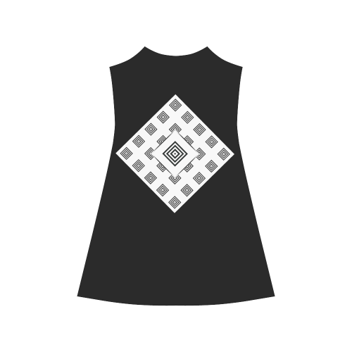 Solid Squares Frame Mosaic Black & White Alcestis Slip Dress (Model D05)