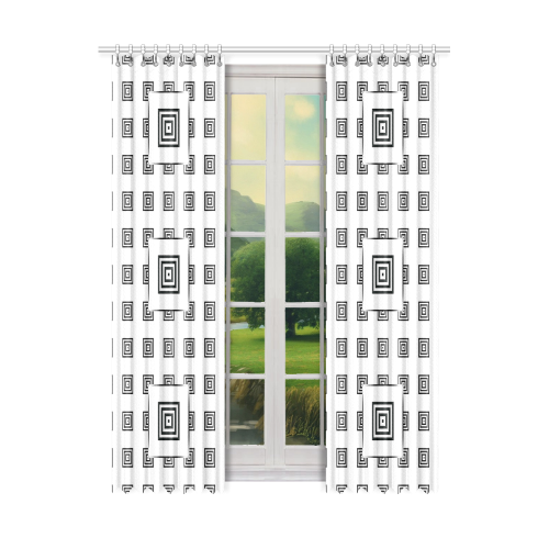 """Solid Squares Frame Mosaic Black & White Window Curtain 50"""" x 108""""(One Piece)"""