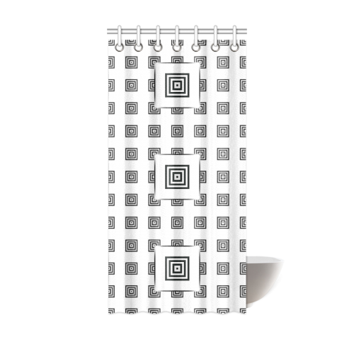 """Solid Squares Frame Mosaic Black & White Shower Curtain 36""""x72"""""""