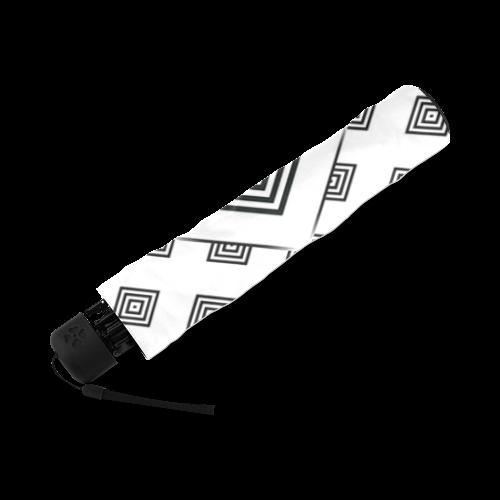 Solid Squares Frame Mosaic Black & White Foldable Umbrella (Model U01)