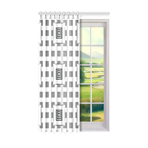 "Solid Squares Frame Mosaic Black & White Window Curtain 50"" x 84""(One Piece)"