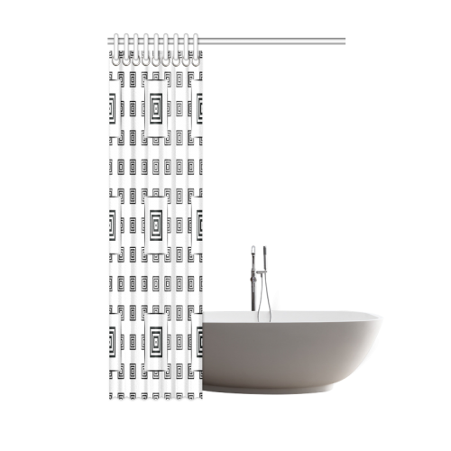 """Solid Squares Frame Mosaic Black & White Shower Curtain 48""""x72"""""""