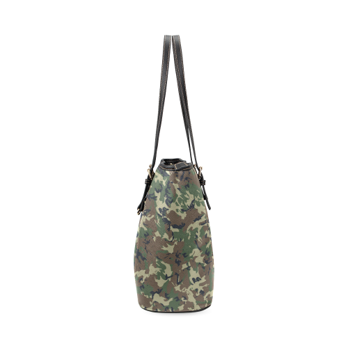 Forest Camouflage Pattern Leather Tote Bag/Small (Model 1640)