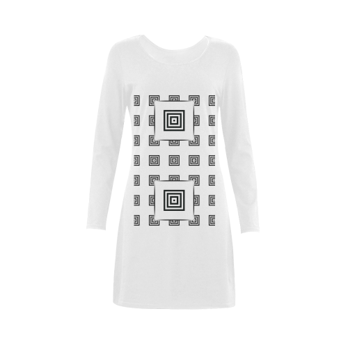 Solid Squares Frame Mosaic Black & White Demeter Long Sleeve Nightdress (Model D03)