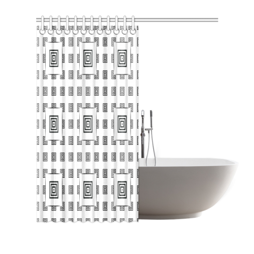"""Solid Squares Frame Mosaic Black & White Shower Curtain 72""""x72"""""""