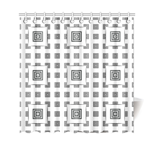 """Solid Squares Frame Mosaic Black & White Shower Curtain 69""""x70"""""""